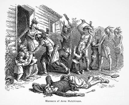 """Depiction of the massacre of Anne Hutchinson and her family, found in William Cullen Bryant's """"A popular history of the United States,"""" 1878."""