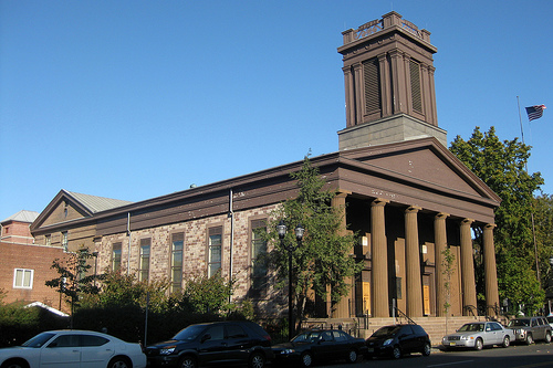The longest continuous congregation in New Jersey is the Old Bergen Church in Jersey City. It began at the time of Dutch settlement in the area; its more than 340-year history grants it a special place in the history of Jersey City. The third and present structure, now called the Old Bergen Church, was built in 1841 on the site of the old parsonage and dedicated on 14 Jul 1842. (photo credit: wallyg)