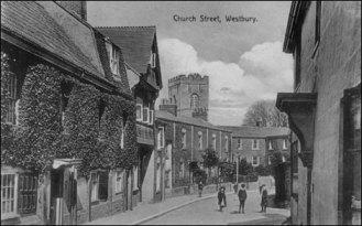 Church Street - All Saints Church in background (1900s, photo courtesy of Westbury Visitor Centre, 1 High Street, Westbury)