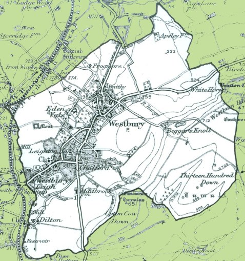 Map of the civil parish of Westbury (1890s, Wiltshire & Swindon History Centre)