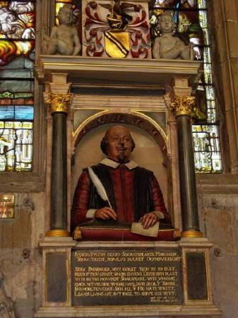 The bust of William Shakespeare in the choir of Holy Trinity Church, Stratford-upon-Avon. This half-length statue on his memorial must have been erected within six years after Shakespeare's death in 1616 and is believed to have been commissioned by the poet's sone-in-law, Dr. John Hall.
