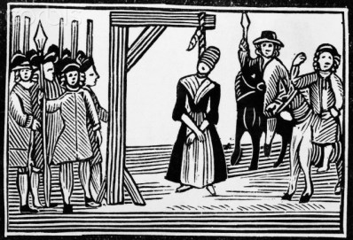 Woodcut - a witch hanging