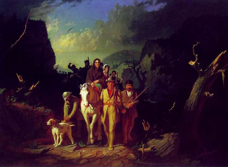 """Daniel Boone Escorting Settlers through the Cumberland Gap"" (George Caleb Bingham, oil on canvas, 1851–52)"