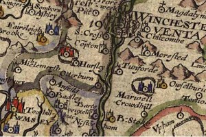Map showing Hursley dated 1607 - Hursley is a village and civil parish in Hampshire, England located roughly mid-way between Romsey and Winchester.
