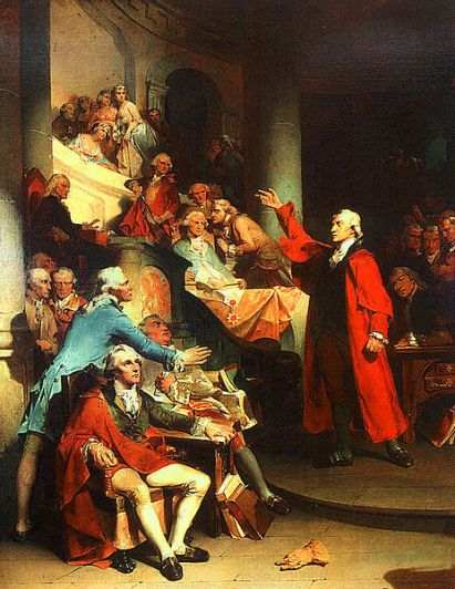 """Peter F. Rothermel's """"Patrick Henry Before the Virginia House of Burgesses"""", a painting (1851) of Patrick Henry's """"If this be treason, make the most of it!"""" speech against the Stamp Act of 1765"""