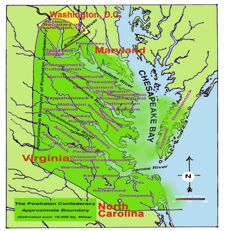 By the time of the arrival of Captain John Smith in 1607,  they began to ally themselves with the Iroquoians. In 1607,Wahunsenacawh or Powhatan II was the paramount  chief of the largest territory under the leadership of one man in North America. His sway over such a large  territory caused the English to call him a king. Although not all contemporary scholars agree on the territorial  boundary of Powhatan's domain, this map depicts the most commonly held consensus of the Powhatan  Confederacy boundary area. (Powhatan Museum, King William County, Virginia)