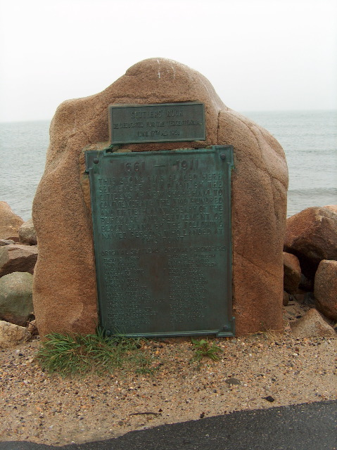 This is the historical marker placed at Cow Cove on Block Island, Rhode Island, the site of the first settlers' landing in 1661. Settler's Rock is the most northerly part of Block Island accessible to motorists.