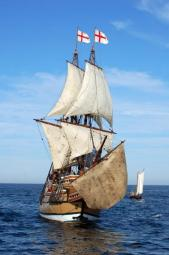 The Mayflower II under sail (photo from the Plantation's website)