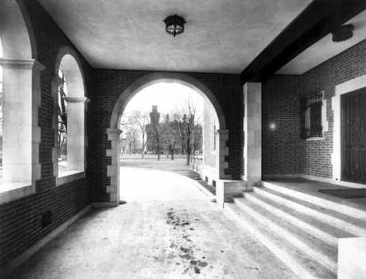 Looking northwardly through porte-cochere
