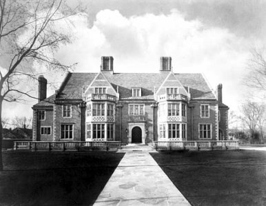 Front view with stone walk