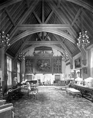 Looking south from middle of great hall showing organ screen and statuary