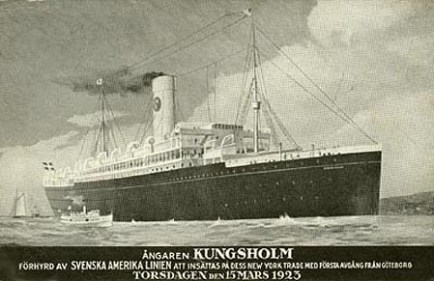 This is a postcard from the 1923 voyage of the Kungsholm, on which my grandfather arrived in America. The 1901-built SS Noordam was chartered by Swedish American Line (Swedish: Svenska Amerika Linien) from Holland America Line as SS Kungsholm from 27 Feb 1923 until 18 Dec 1924.