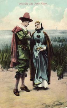 """Electro-gravure prints were published in 1903 depicts the couple watching the departing """"Mayflower""""."""