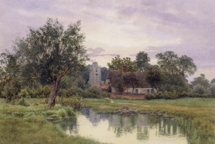 Evening at Hemingford Grey Church in Huntingdonshire by William Fraser Garden