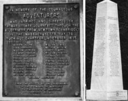 Above are two monuments to the founders - original proprietors - of Hartford, Connecticut . At the left is Adventurers' Boulder plaque at the corner of Main and Arch streets in Hartford. At the right is Founders' Monument in the Center Church Burial Ground.