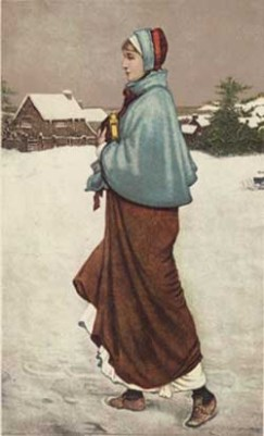 """George H. Boughton's """"Priscilla"""" (1879) shows our Pilgrim maiden striding purposefully through the 1621 snow just beyond the Plymouth village."""