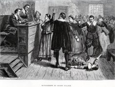 """Witchcraft at Salem Village"" - A generalized courtroom scene showing an ""afflicted"" girl fallen on the floor in front of the judges bench."