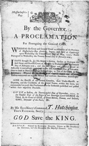 A proclamation issued by Hutchinson in 1771