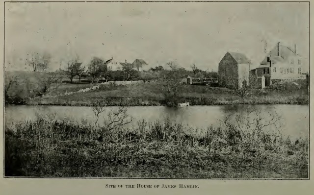 Site of the James Hamlin homestead in Barnstable, Massachusetts (illustration from the Hamlin Family genealogy by H. Franklin Andrews (1902), p. 29