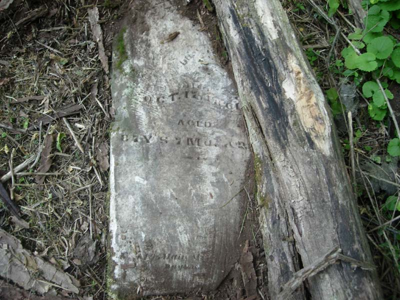 This is thought to be the grave marker of Benjamin Morris (1774-1861) - Lewis Farm Cemetery (Warrick Rhodes Cemetery), Red Lion (Warren County), Ohio (photo credit: Todd Whitesides)