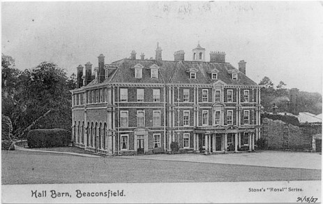 Old postcard image of Hall Barn, Windsor End, Beaconsfield, Buckinghamshire, England - the home of Edmund Waller