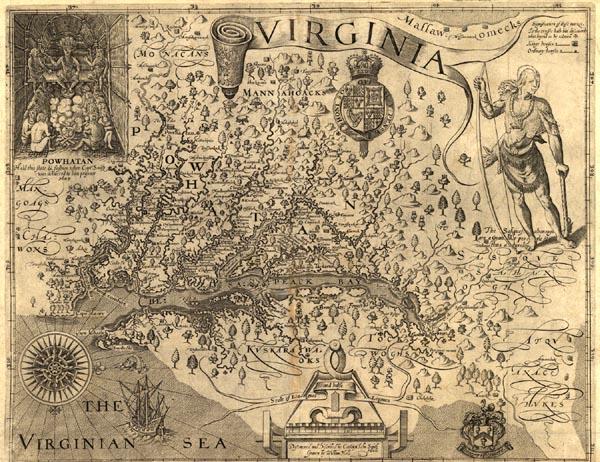 Captain John Smith's Old Map Of Virginia (1606)