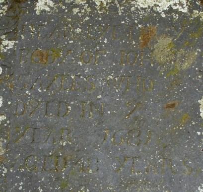 Hear Lyeth Y[e] Body of John Sayles Who Dyed in Y[e] Year 1681 Aged 48 years
