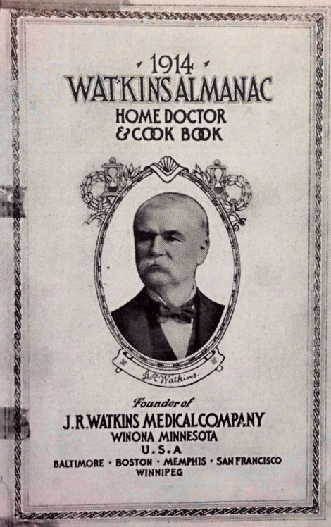 J.R. Watkins built one of the largest printing operations west of the Mississippi to support the company's marketing efforts, like the Watkins Almanac, shown here.