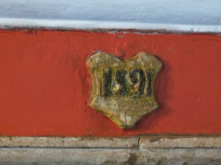 Year 1591, above the fireplace of Edward & Alice Cogswell home (photo credit: Danette Percifield Cogswell, May 2013)