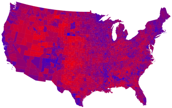 2008 United States presidential election results by county, on a color spectrum from Democratic blue to Republican red.