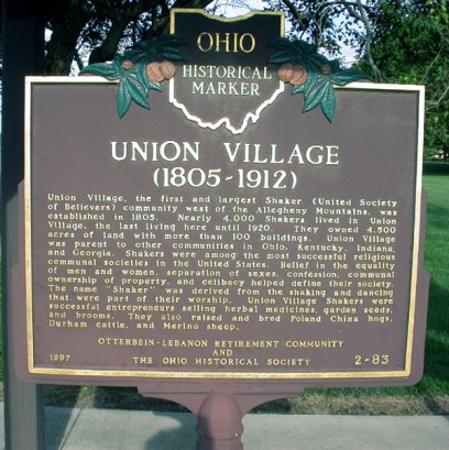 Sign marking the location of the Union Village Shaker community, near where the Morris family made its home in Warren County, Ohio in the early 1800s (front), photo credit: Arne H. Trelvik; taken 4 Aug 2004