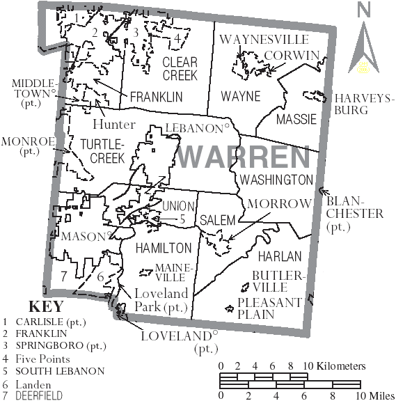 Map of Warren County, Ohio