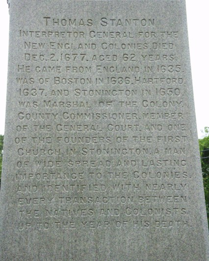 Thomas Stanton - monument inscription