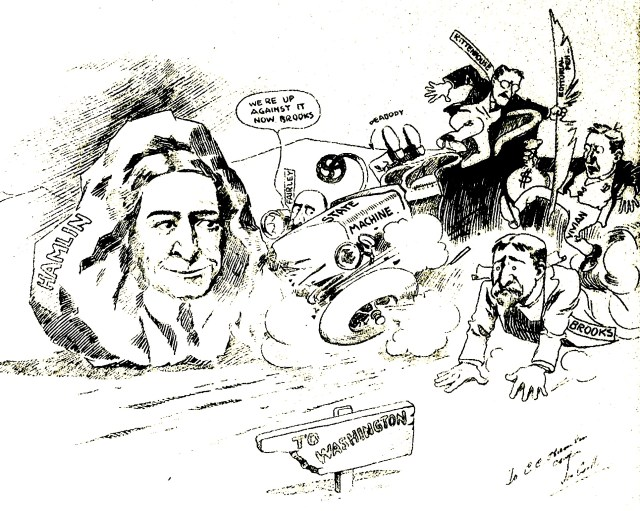 A political cartoon from C.C. Hamlin's campaign for the Wyoming State Senate