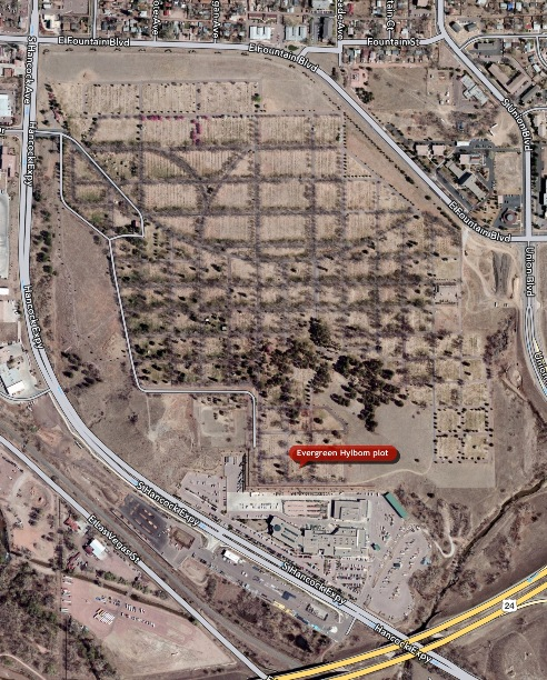 This aerial shot of Evergreen Cemetery shows the location of the grave sites.