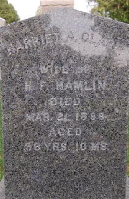 Harriet Allen Clarke Hamlin (1839-1898) - grave marker at Oakland Cemetery, Manchester, Iowa
