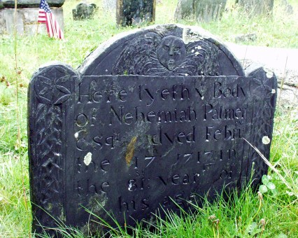 Nehemiah Palmer grave marker - closer view. His wife was Hannah Lord Stanton, daughter of Thomas and Anna (Lord) Stanton