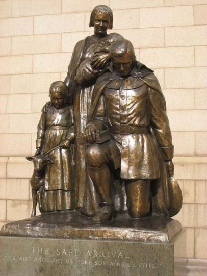 """The Safe Arrival"", sculpture by Frances Laughlin Wadsworth, outside the Travelers headquarters, Hartford, Connecticut (dedicated 27 Apr 1964). The inscription, ""He who brought us here sustains us still"" (Qui Transtulit Sustinet), is the State motto of Connecticut."