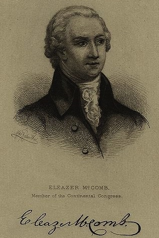 Eleazer McComb (1740-1798), a Delegate from Delaware to the Continental Congress from March 1783 until January 1784. He is my 1st cousin 6x removed.