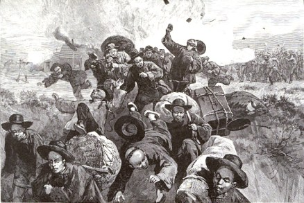 """Massacre of the Chinese at Rock Springs, Wyoming"", from Harper's Weekly, Vol. 29 (1886)"