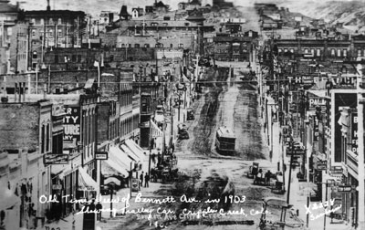 In 1903, when Cripple Creek was Colorado's fourth largest city, street cars operated on its main streets (Denver Public Library, Western History Collection)