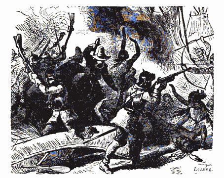 """An image of Massachusetts colonists attacking the Eastern Niantic in the Pequot War of 1637 (from """"History of Pilgrims and Puritans"""", Vol. 3 by Joseph Dillaway Sawyer)"""