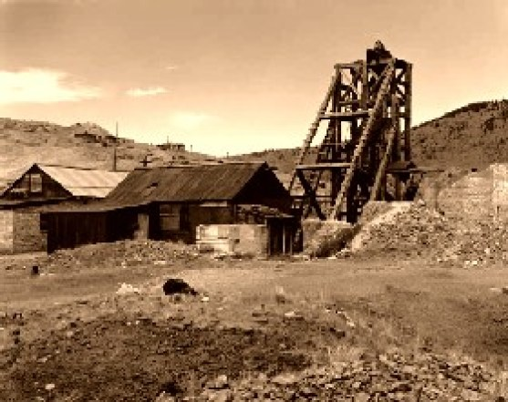 The Gold Coin Mine in 1930. After the boom of 1890-1910, Victor became a ghost town.
