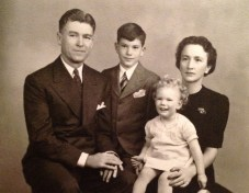 Family portrait, 23 Nov 1941 - Roy, Rusty, Penny and Florence Walholm (used on 1941 Christmas card)