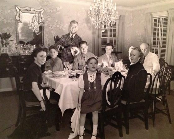 """Walholm & Watkins families, Christmas 1945 - L to R: Florence, Rusty, Wally, Billy Watkins, Penny, Ben Watkins, William Watkins (Penny's Uncle """"Doodie""""), Anita"""
