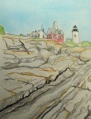 Pemaquid Lighthouse, watercolor by Robert Ziegler (from a photo), 2013