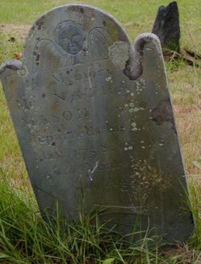 Nathan Mason (1705-1758) - grave marker, Mason-Horton Cemetery, Swansea, Massachusetts