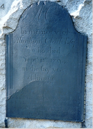 Abraham Clark grave marker (inscription), Presbyterian Cemetery, Rahway, New Jersey