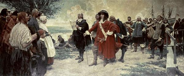 Governor Philip Carteret arriving at Elizabethtown in July 1665 to take charge of the new colony on behalf of the Lords Proprietor. Greeted no doubt warily by the settlers, including John Ogden and perhaps others of our ancestors. They got along reasonably well for a time. But contrast of attire reflected a conflict in outlook. Disputes over titles and taxes soon initiated more than a century of discord between freeholders and absentee Proprietors. (New Jersey Historical Society)