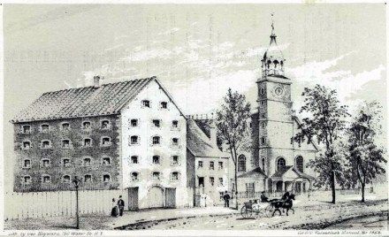"""The Livingston sugar house (left) on Liberty Street in lower Manhattan once detained 400 to 500 American prisoners of the Revolutionary War. (George Hayward, 1858, """"The old Sugar House & Middle Dutch Church, Liberty St. N.Y. in 1830."""")"""